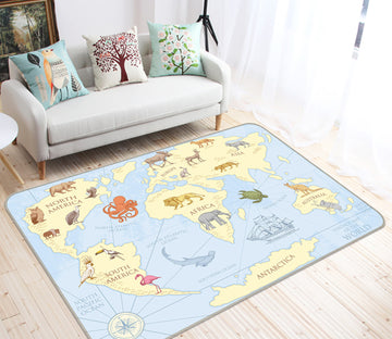 3D Yellow Land 292 World Map Non Slip Rug Mat