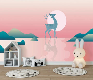 3D Blue Deer Before Sunrise 2575 Wall Murals