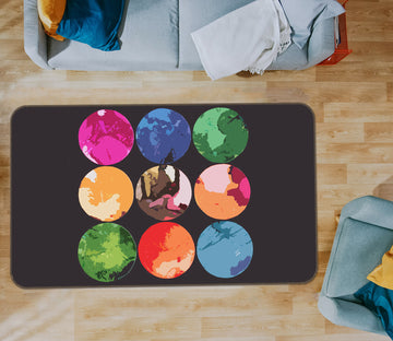 3D Color Circle 71019 Shandra Smith Rug Non Slip Rug Mat
