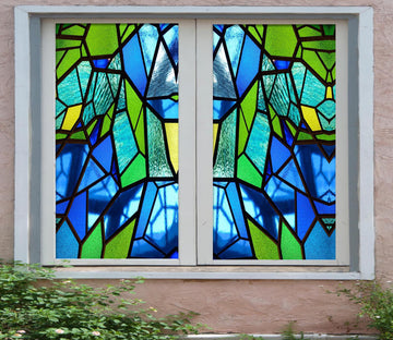 3D Blue Crystal 422 Window Film Print Sticker Cling Stained Glass UV Block