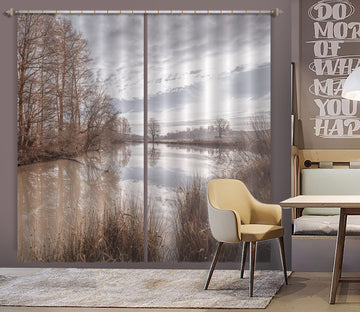 3D Sunny Lake Tree 079 Assaf Frank Curtain Curtains Drapes