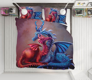 3D Winged Dragon 108 Rose Catherine Khan Bedding Bed Pillowcases Quilt