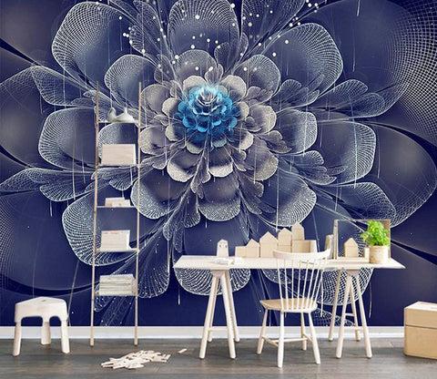 3D Black Flowers 576 Wall Murals
