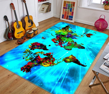 3D Wonderland 283 World Map Non Slip Rug Mat