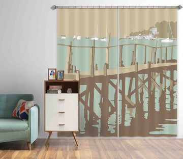 3D Sanbanks Evening Hill Pier 139 Steve Read Curtain Curtains Drapes