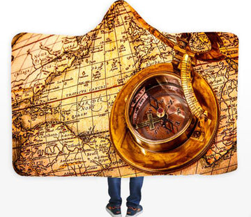 3D Instruments World Map 338 Hooded Blanket