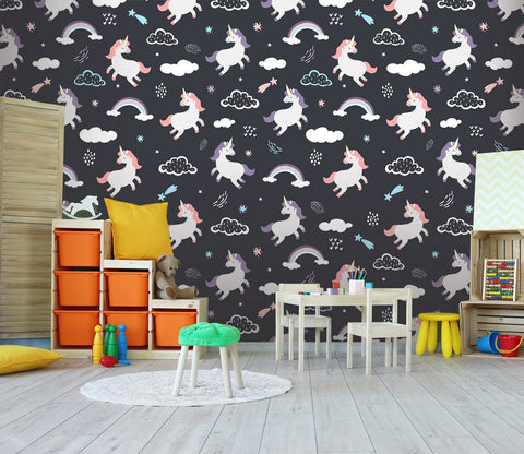 3D Cartoon unicorns and clouds 15 Wall Murals