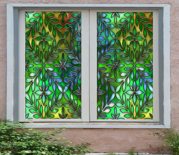 3D Green Leaves 435 Window Film Print Sticker Cling Stained Glass UV Block