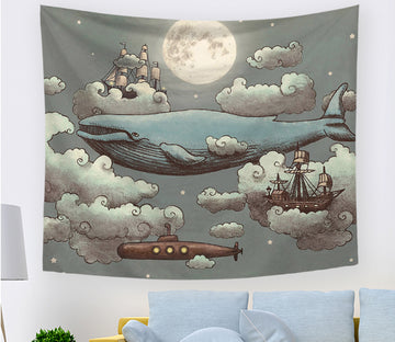 3D Fishing Boat Shark 2380 Tapestry Hanging Cloth Hang