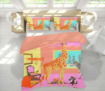 3D Animal Party 2108 Showdeer Bedding Bed Pillowcases Quilt Quiet Covers AJ Creativity Home