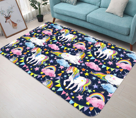 3D Rainbow Unicorn 27 Non Slip Rug Mat Mat AJ Creativity Home