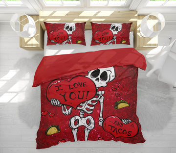 3D Skeleton Lovers 111 David Lozeau Bedding Bed Pillowcases Quilt