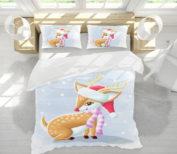 3D Sika Deer Scarf 64002 Bed Pillowcases Quilt