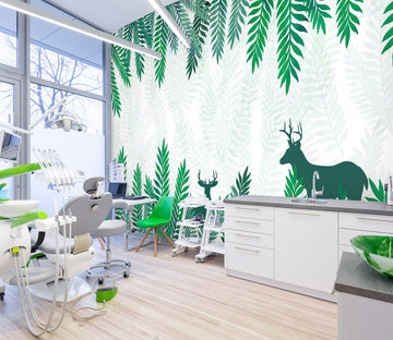 3D Leaf Deer Shadow 342 Wall Murals