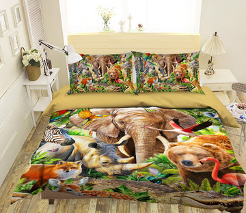 3D Animal World 2129 Adrian Chesterman Bedding Bed Pillowcases Quilt Quiet Covers AJ Creativity Home