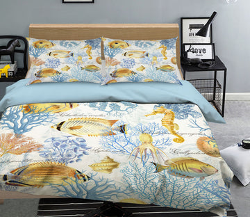 3D Yellow Fish 065 Studio MetaFlorica Bedding Bed Pillowcases Quilt
