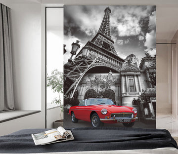 3D Eiffel Tower Villa Car 439 Vehicle Wall Murals