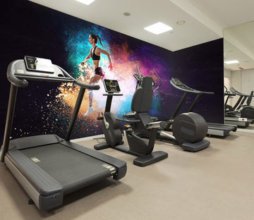 3D Running Girl 308 Wall Murals