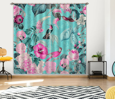 3D Bird And Flower Forest 063 Andrea haase Curtain Curtains Drapes