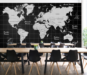 3D Abstract Clouds 2112 World Map Wall Murals