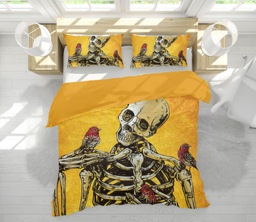 3D Skull Bird 101 David Lozeau Bedding Bed Pillowcases Quilt