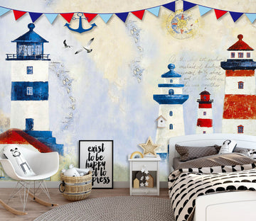 3D Blue Tower 1674 Wall Murals