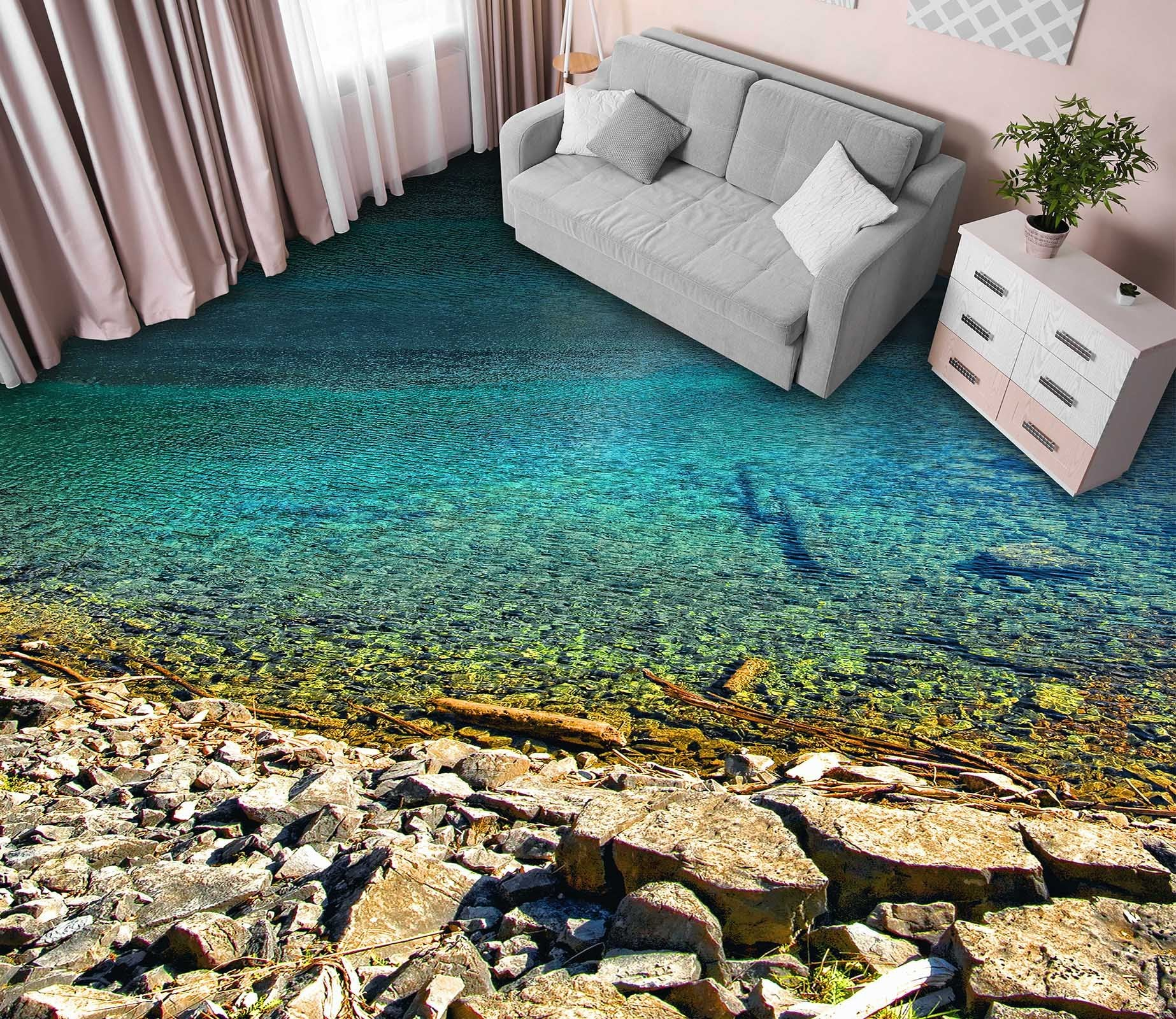3D Lake Gravel Floor Mural Wallpaper AJ Wallpaper 2