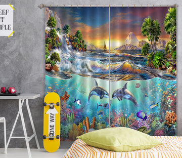 3D Dolphin Ocean 043 Adrian Chesterman Curtain Curtains Drapes