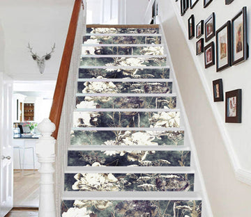 3D White Flowers 3746 Stair Risers