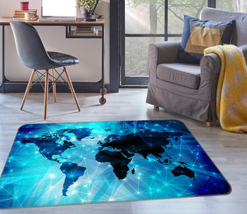 3D Blue World 308 World Map Non Slip Rug Mat
