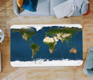 3D Green Space 319 World Map Non Slip Rug Mat
