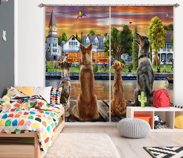 3D Dog Guard 063 Adrian Chesterman Curtain Curtains Drapes