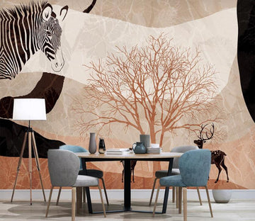 3D Dead Tree And Zebra 2579 Wall Murals