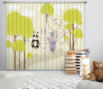 3D Animal Forest 733 Curtains Drapes