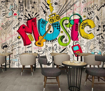3D Music Graffiti 609 Wall Murals Wallpaper AJ Wallpaper 2