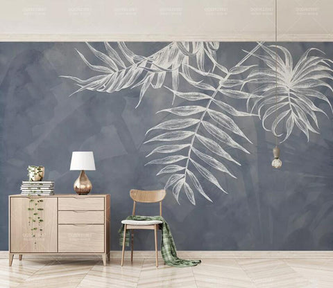 3D Gray Leaves WC88 Wall Murals