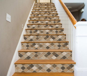 3D Diamond Mosaic 0684 Marble Tile Texture Stair Risers Wallpaper AJ Wallpaper