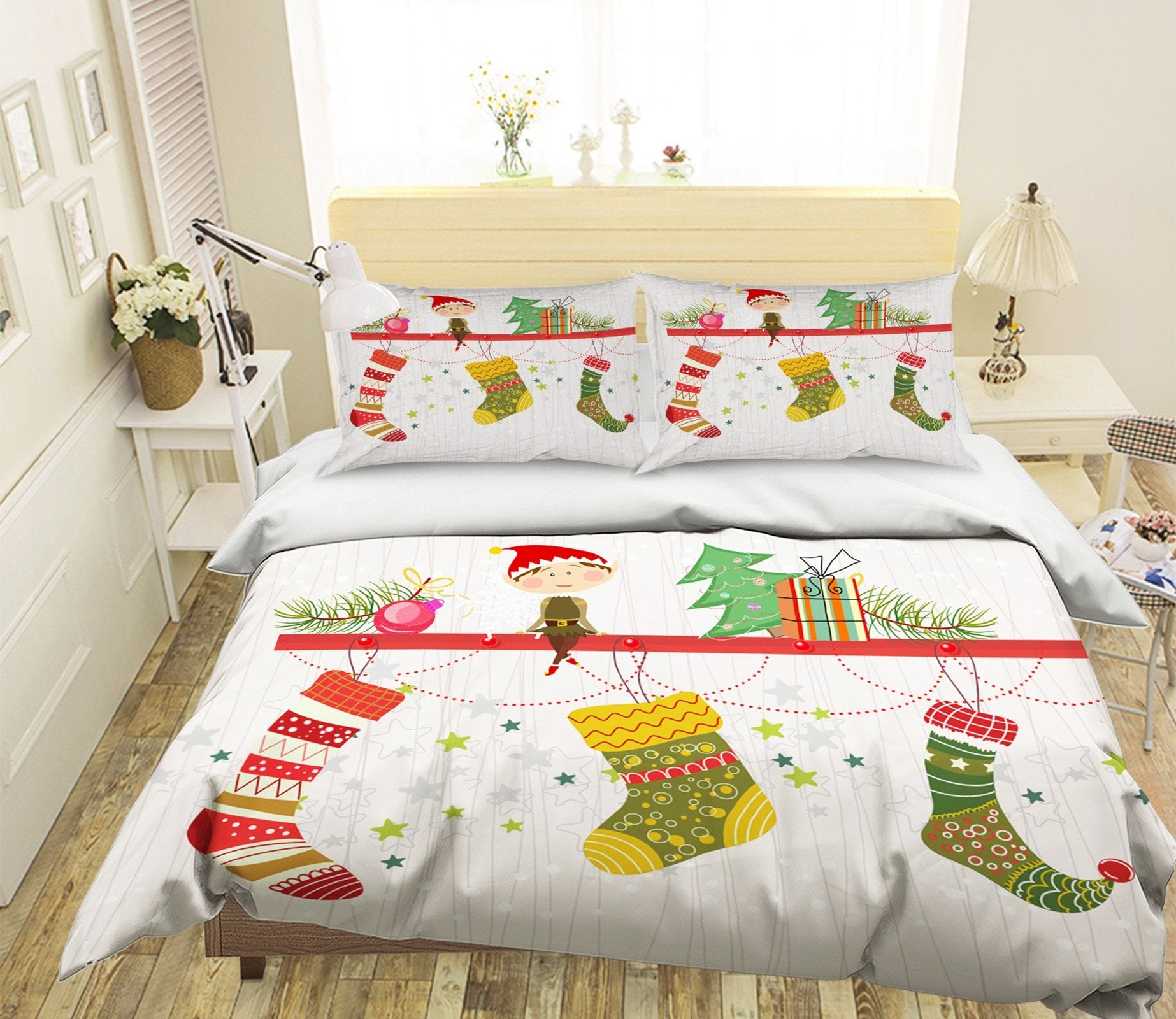 3D Christmas Sock Hanging 2 Bed Pillowcases Quilt Quiet Covers AJ Creativity Home