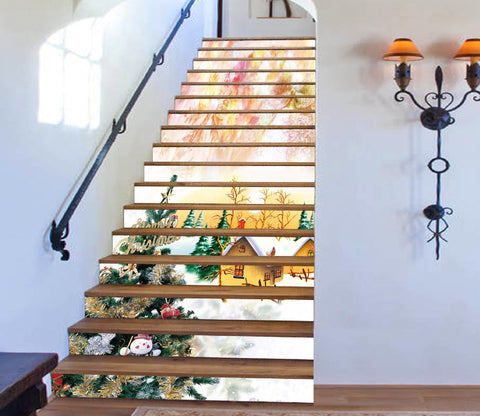 3D Happy Christmas Xmas 2 Stair Risers