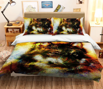 3D Orange Wolf 120 Bed Pillowcases Quilt