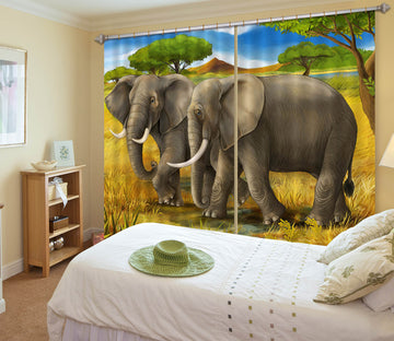 3D Prairie Elephant 799 Curtains Drapes