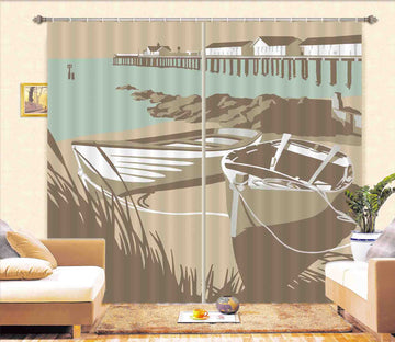 3D Southwold Boats Pier 149 Steve Read Curtain Curtains Drapes