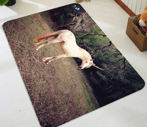 3D Wood Unicorn 03 Non Slip Rug Mat Mat AJ Creativity Home