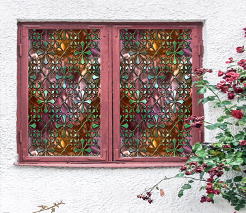 3D Window Grille 434 Window Film Print Sticker Cling Stained Glass UV Block