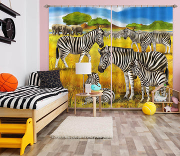 3D Steppe Zebra 798 Curtains Drapes