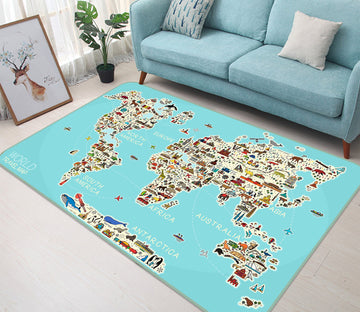 3D Animal Painting 313 World Map Non Slip Rug Mat