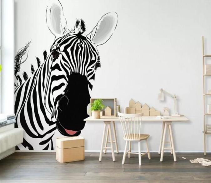 3D Cute Zebra 161 Wall Murals