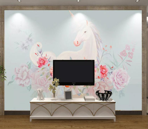 3D Cute Unicorn WC74 Wall Murals