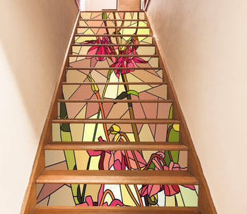 3D Red Flowers 3044 Stair Risers