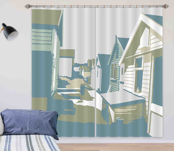 3D Mudeford Beach Huts 123 Steve Read Curtain Curtains Drapes